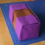 A very large version of the hinge lidded box.  The craft paper I used was too soft for the job.  It needs a stiffer paper for this size.  The problem is finding paper which has such large dimensions.