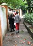 Tristan, Lalo and Tonya in the gardens surrounding the Rio Cuernavaca