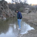 Jan 2007. Peter standing on water.