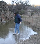 Peter walking on water.