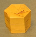 Hex Layered Box.  Designed and Folded by Rosemary LYNDALL WEMM.  Sept. 2006