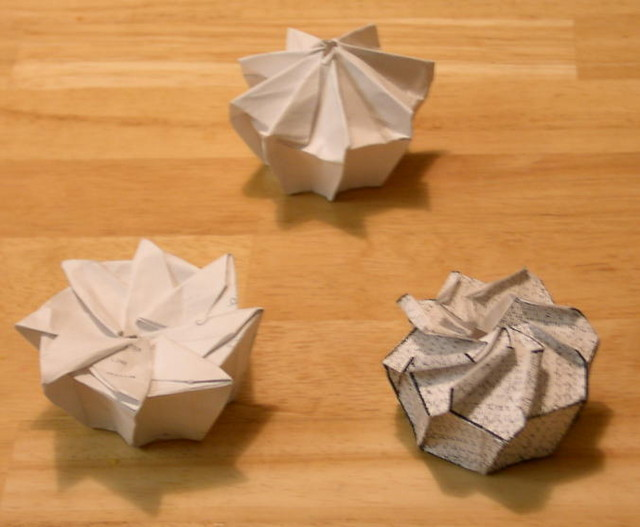 Rough prototypes of twist boxes, types 1, 2 and 3. (These prototype foldings will be replaced by better ones in the near future.)  Designed and dog-eared in 2002 (by Rosemary LYNDALL WEMM)
