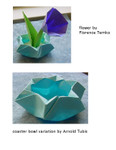 Varation of the coaster bowl designed and folded by Arnold Tubis.  Flower insertion  by Florence Temko.