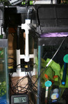 Another shot of the overflow device, in a different configuration.  The black pipe slides into a riser on the drain pipe.  The water then flows away due to gravity.  The black pipe fits snugly into the 1/2 inch white PVC, so I can slide the device up/down to set the fill level very precisely.   There is a small spacer to keep it vertical, I plan to use sticky pads to hold it in place later.