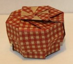 High Walled Octagonal Box.  Designed and folded by Rosemary LYNDALL WEMM.  Sept. 2006.  Material is wallpaper.